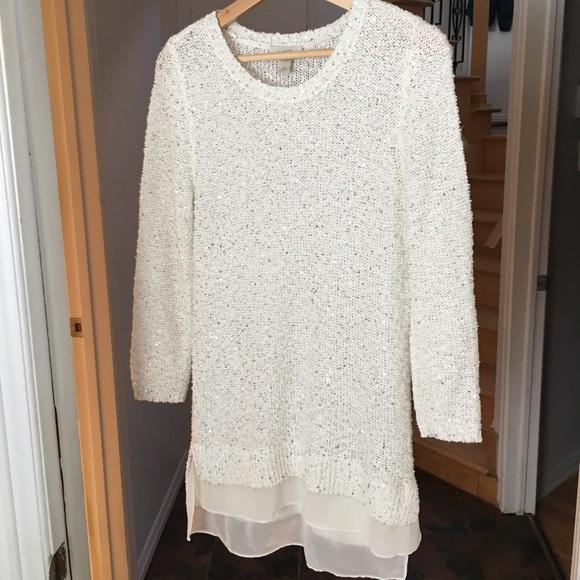 Loft Ann Taylor White Sequin Sweater Tunic Medium